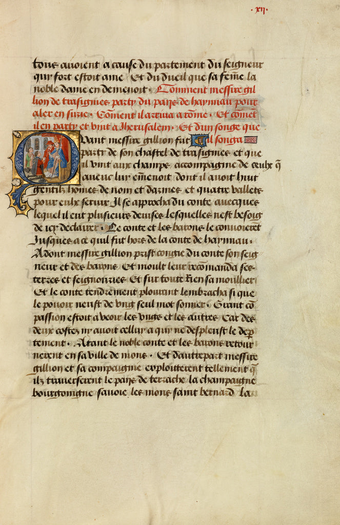 Lieven van Lathem:Initial Q: Gillion Receiving the Pope's Bl,16x12