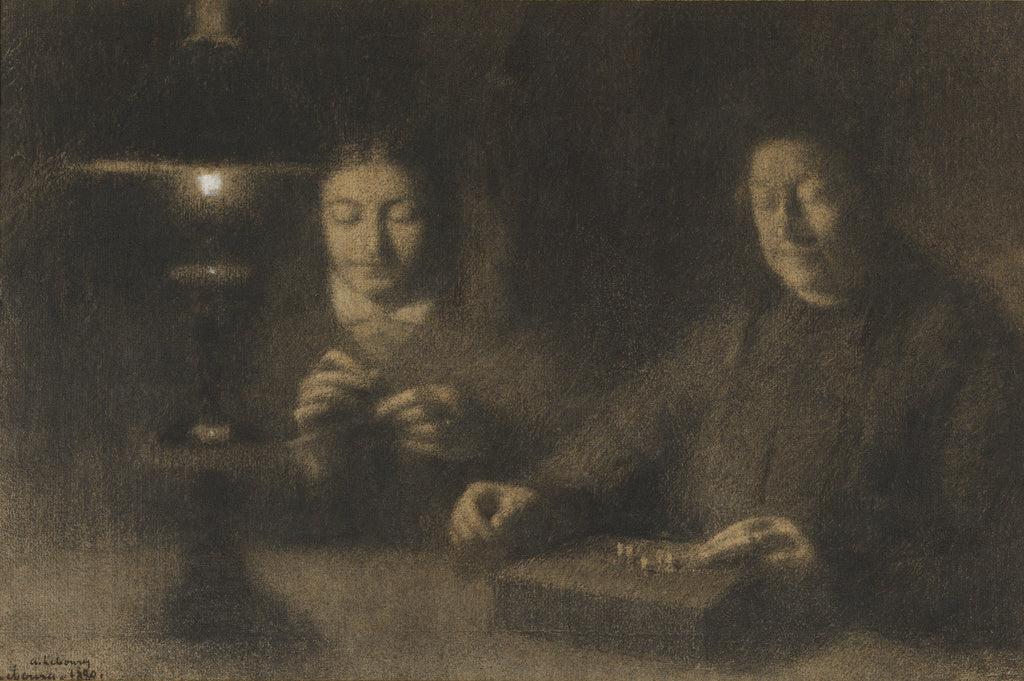 Albert Lebourg:The Mother and Wife of the Artist Sewing by L,16x12