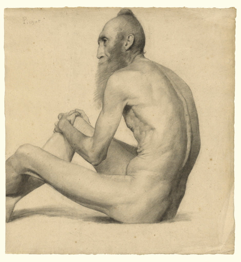 emile-Jules Pichot:Nude Study of an Indian Man,16x12