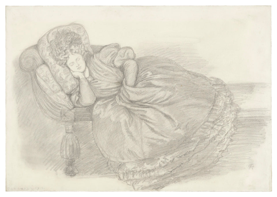 "Dante Gabriel Rossetti:Study of Fanny Cornforth, asleep on a,16x12""(A3)Poster"