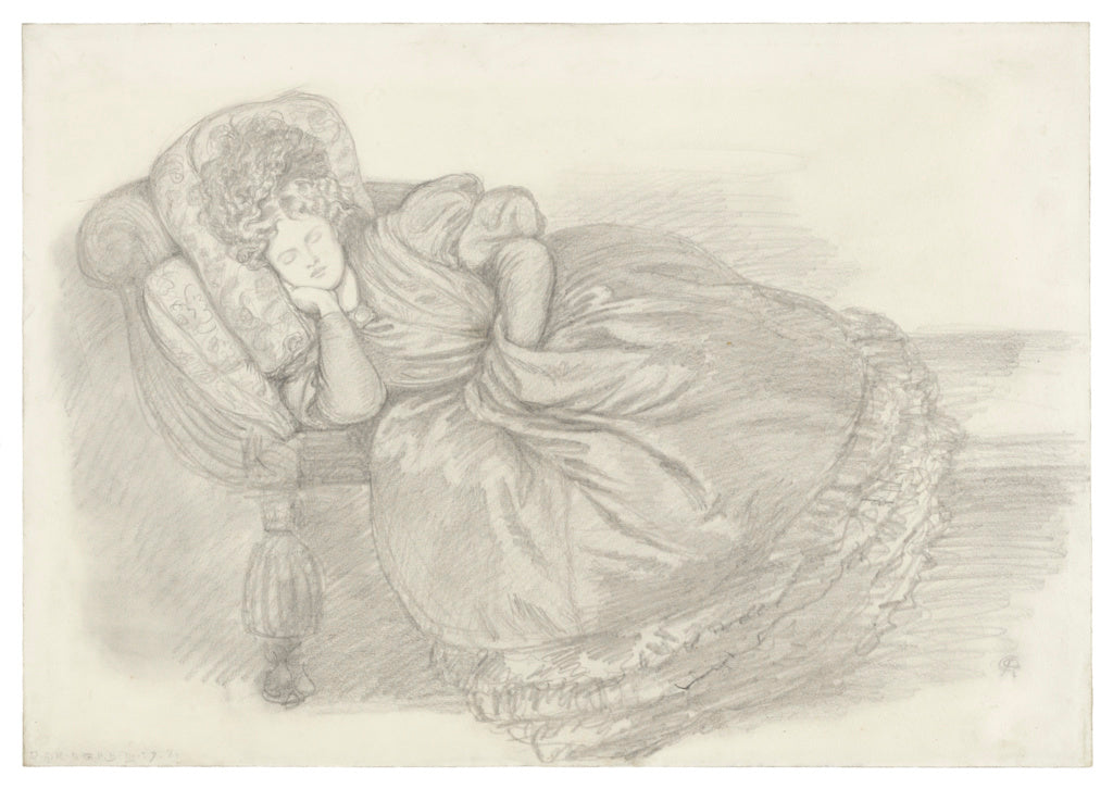 Dante Gabriel Rossetti:Study of Fanny Cornforth, asleep on a,16x12