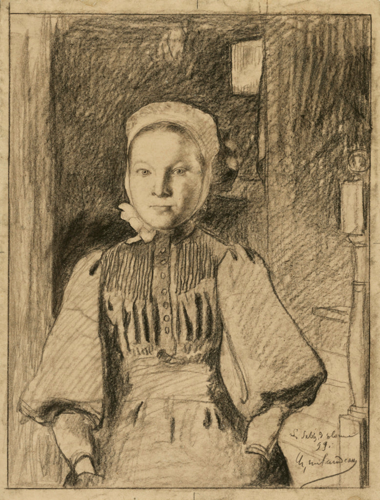 Charles Milcendeau:A young peasant girl from the Vendée,16x12