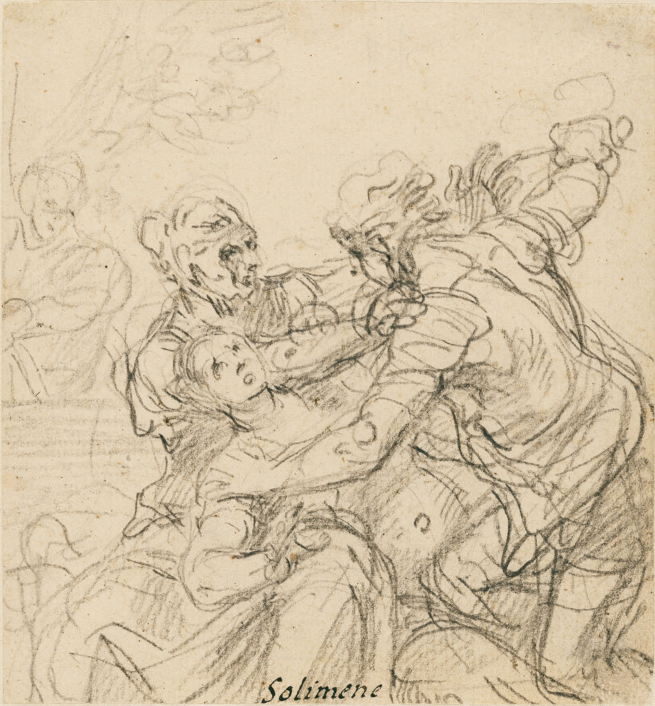 Francesco Solimena:Study for the Death of Messalina,16x12