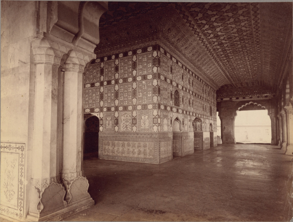 Lala Deen Dayal:Interior of Sheesh Mahal - Amber,16x12