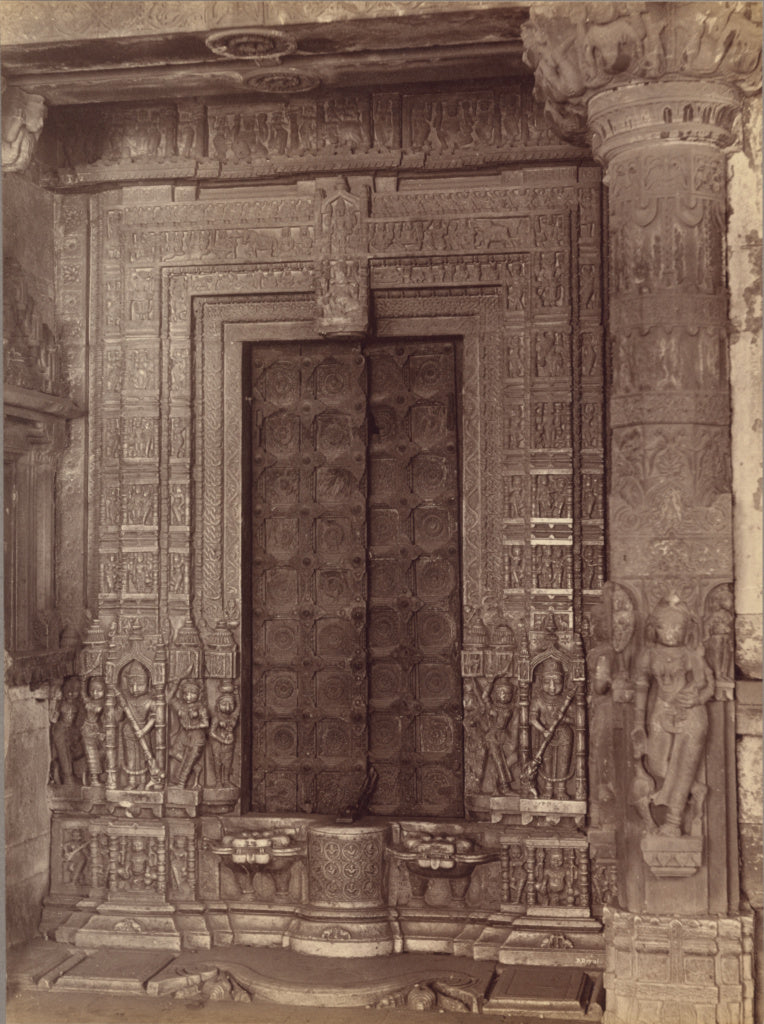 Lala Deen Dayal:Marble Carved Doorway of a Ruined Temple - A,16x12