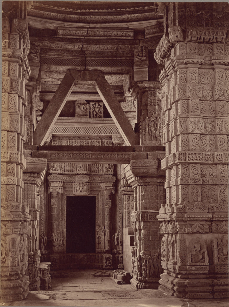 Lala Deen Dayal:Interior of the Great Sas Bahu Temple, Gwali,16x12