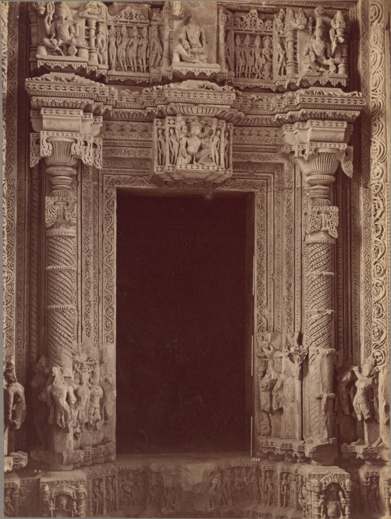Lala Deen Dayal:Inside Doorway Sas Bahu Temple, Gwalior,16x12