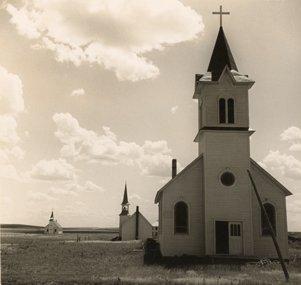Dorothea Lange:Three Churches of the High Plains, near Winne,16x12