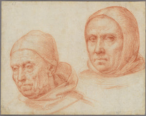 "Fra Bartolommeo :Heads of Two Dominican Friars,16x12""(A3)Poster"
