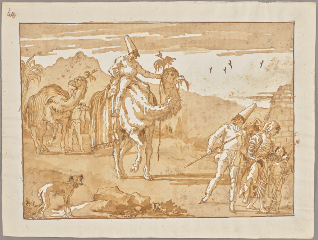 "Giovanni Domenico Tiepolo:The Punchinello Riding a Camel at ,16x12""(A3)Poster"