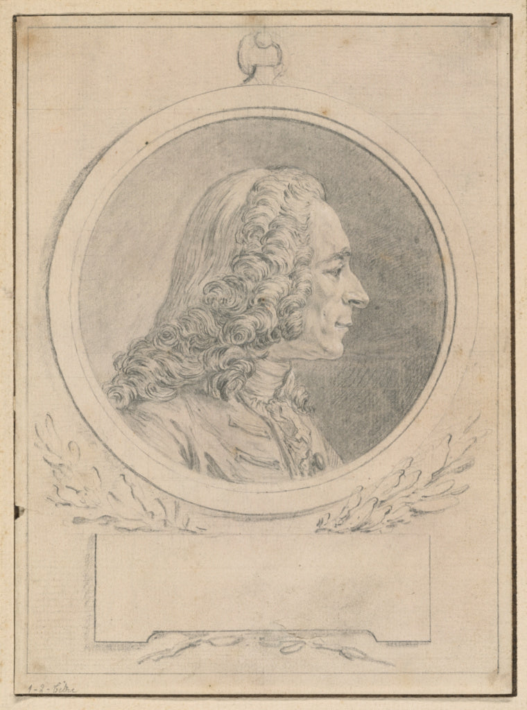 Augustin de Saint-Aubin:Portrait of Voltaire, after His Bust,16x12