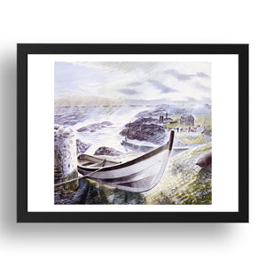 "(Boat Figures) 'Storm', WW2, 1941 by Eric Ravilious, 17x13"" Frame"