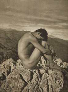 "Boy on Rock by Wilhelm von Gloeden, histoic photo, 16x12"" (A3) Poster Print"