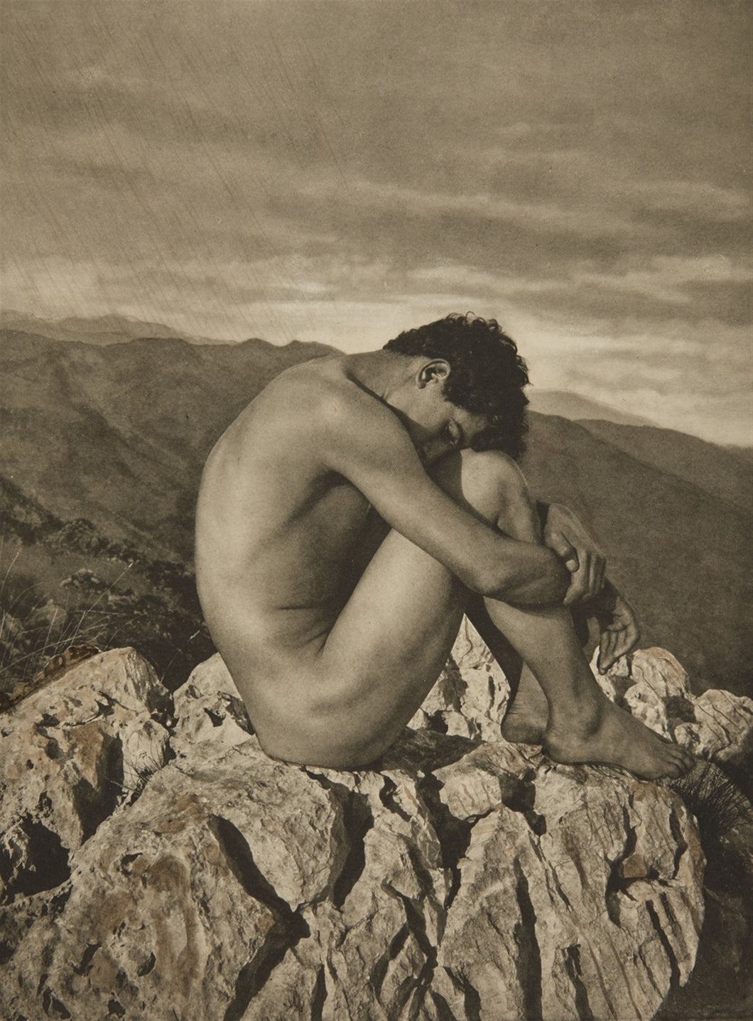 Boy on Rock by Wilhelm von Gloeden, histoic photo, 16x12