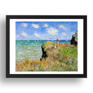 Claude Monet Clifftop Walk at Pourville,  A4 size (8.27 × 11.69 inches) Poster
