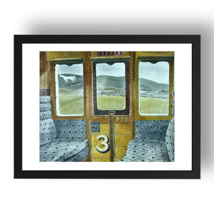 "Train Landscape (3rd Class Carriage, Salisbury Plain)  by Eric Ravilious, 17x13"" Frame"
