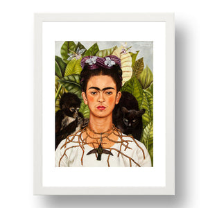 Frida Kahlo - Self Portrait with Thorn Neckace, Hummingbird Cat & Monkey