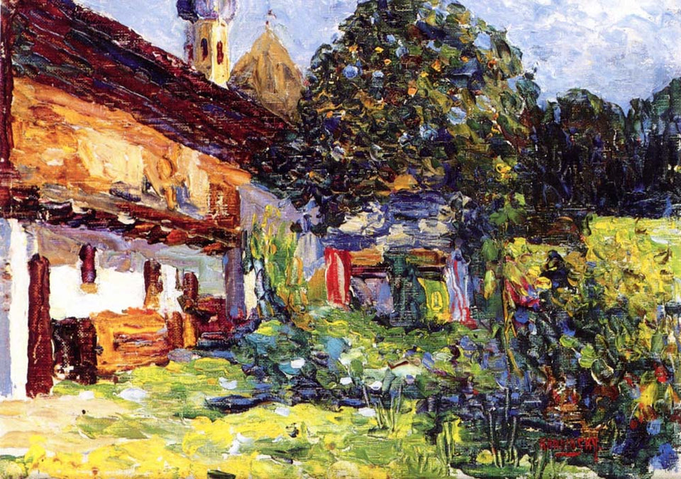 "Kochel - Farmhouse with Church- 1902 by Wassily Kandinsky, 12x8""(A4) Poster Print"