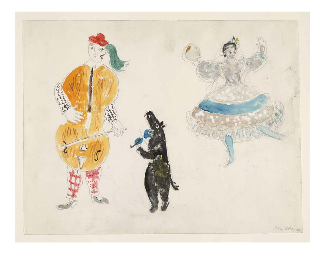 Marc Chagall - A Bandura Player, a Bear and Zemphira, costume design for Aleko, 16x12