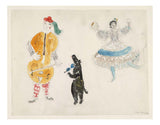 "Marc Chagall - A Bandura Player, a Bear and Zemphira, costume design for Aleko, 16x12"" (A3) Poster Print"