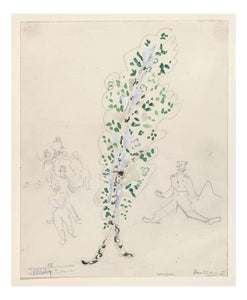 "Marc Chagall - A Birch Tree, costume design for Aleko, 16x12"" (A3) Poster Print"