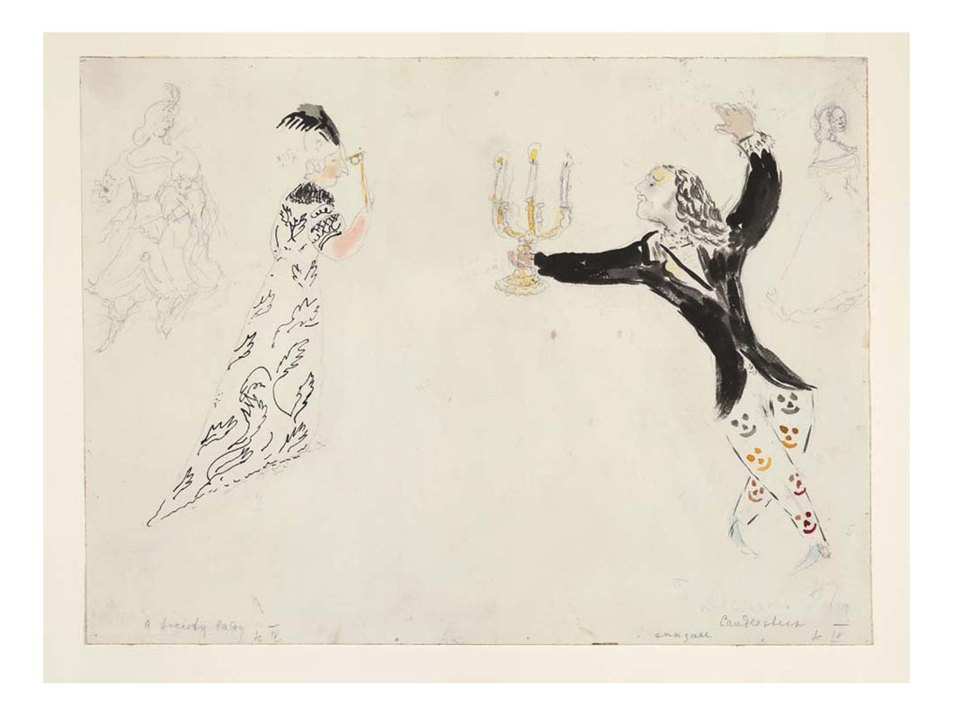 Marc Chagall - A Candlestick and a Society Lady, costume design for Aleko, 16x12