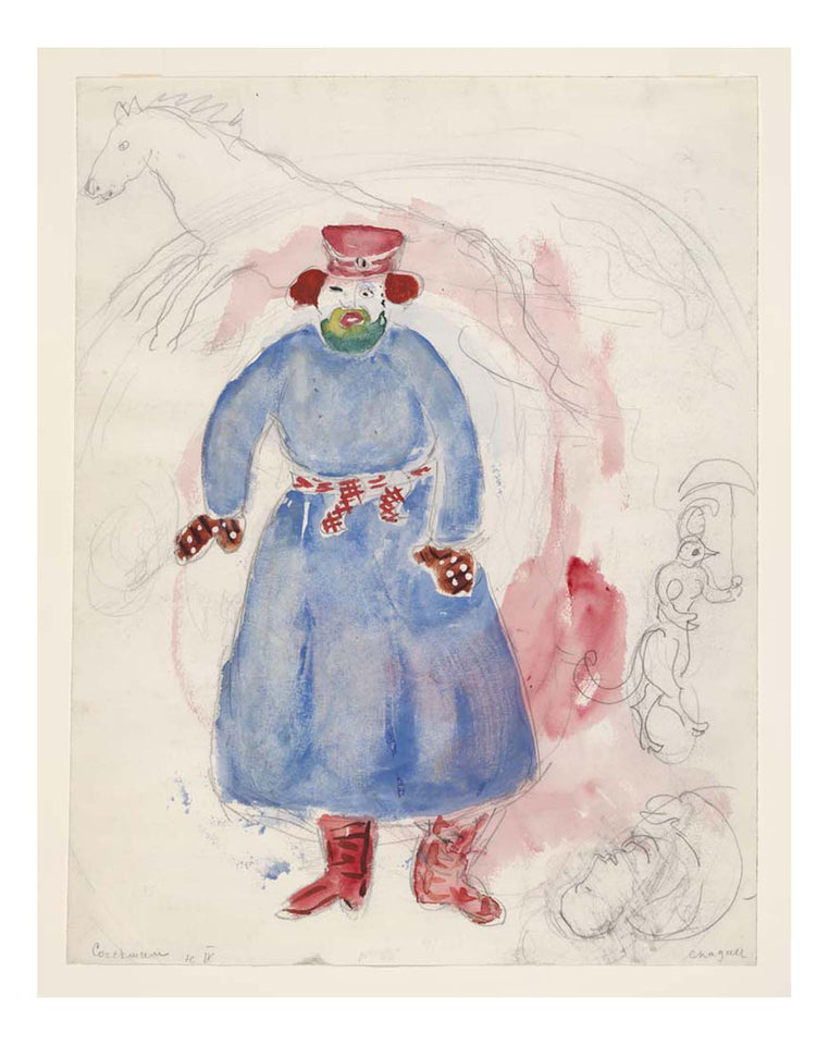 "Marc Chagall - A Coachman, costume design for Aleko, 16x12"" (A3) Poster Print"