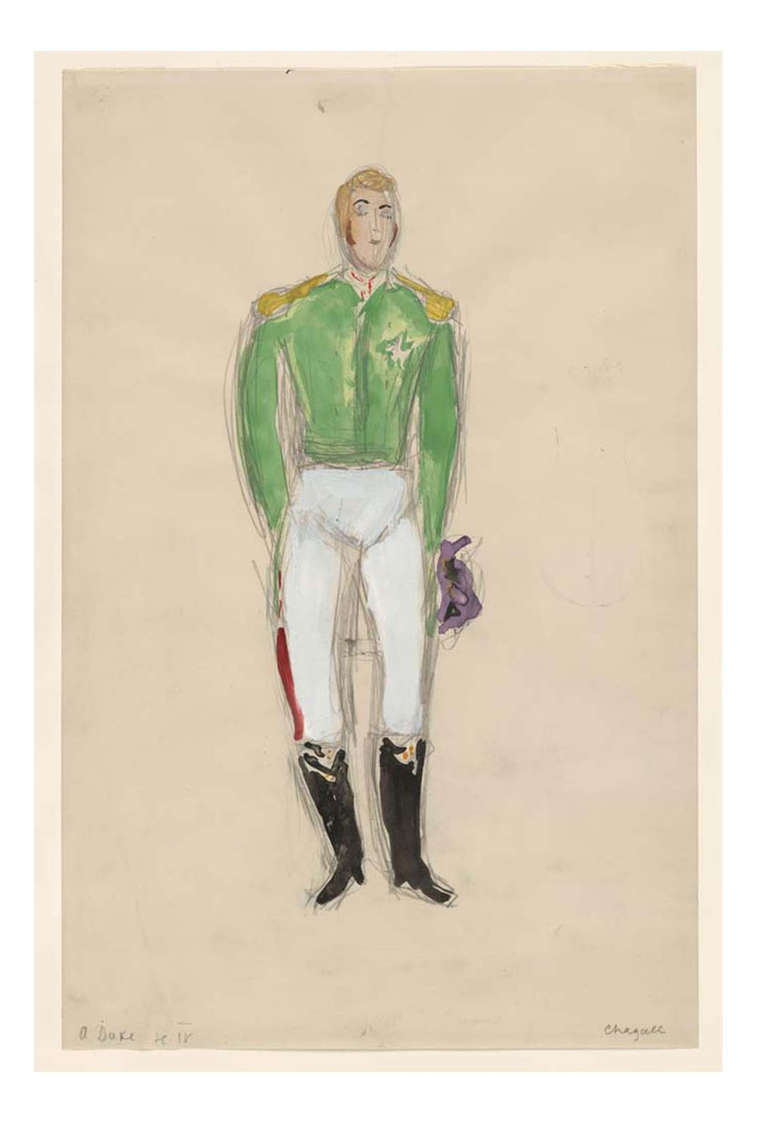 Marc Chagall - A Duke, costume design for Aleko, 16x12