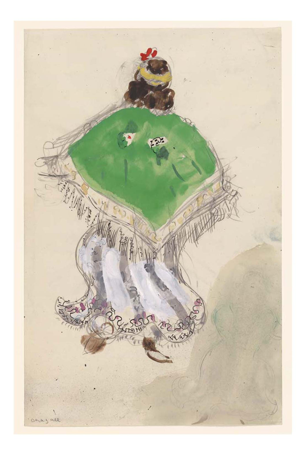 Marc Chagall - A Gypsy, costume design for Aleko, 16x12