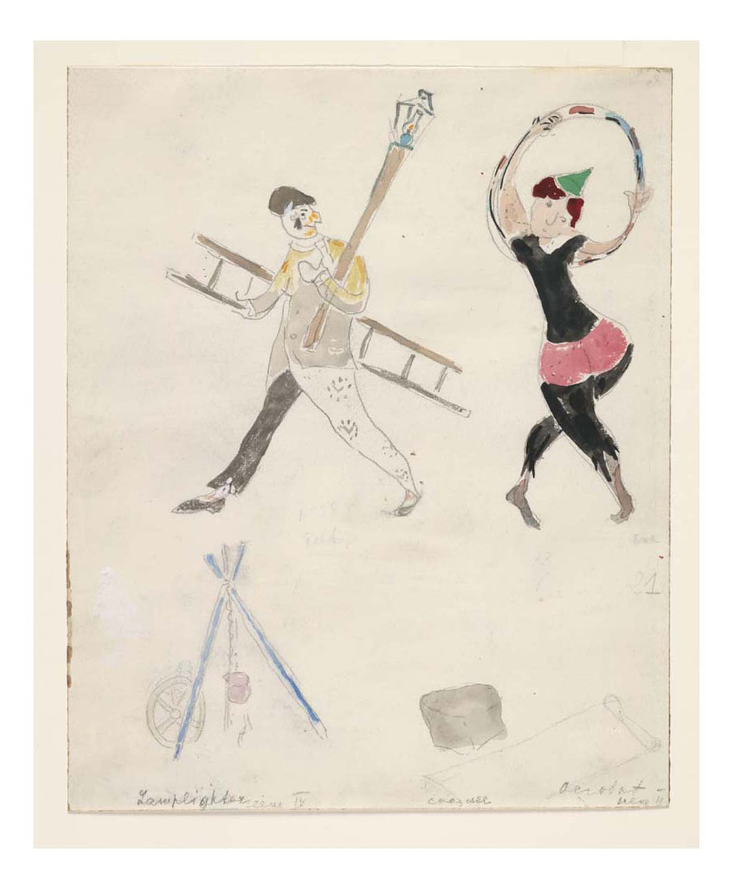 Marc Chagall - A Lamplighter and an Acrobat, costume design for Aleko, 16x12