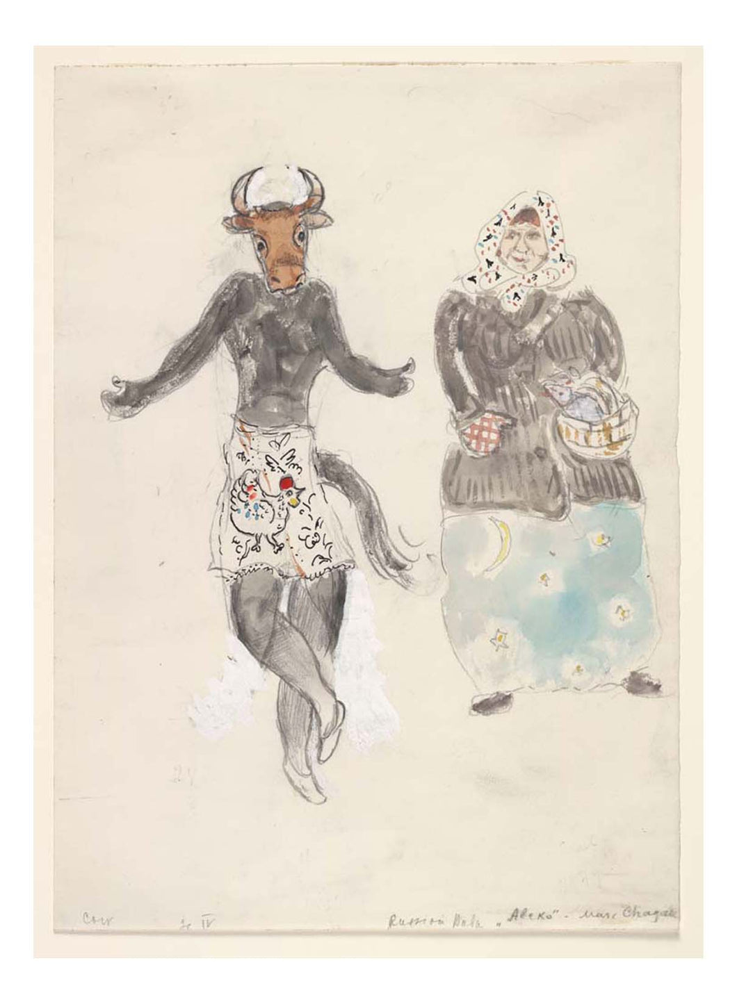 Marc Chagall - A Russian Baba and a Cow, costume design for Aleko, 16x12