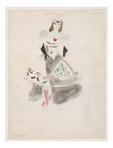 "Marc Chagall - A Society Lady, costume design for Aleko, 16x12"" (A3) Poster Print"