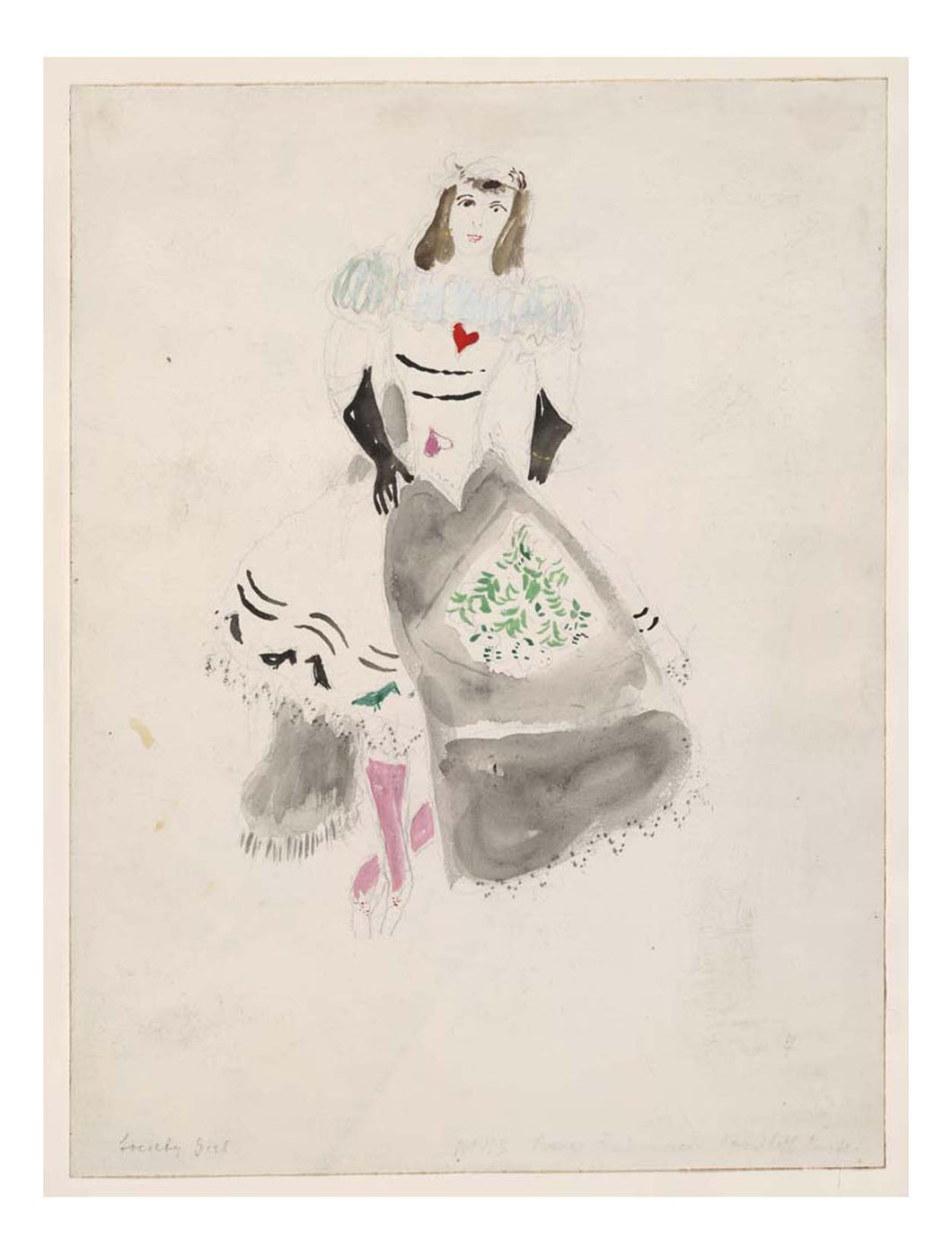 Marc Chagall - A Society Lady, costume design for Aleko, 16x12