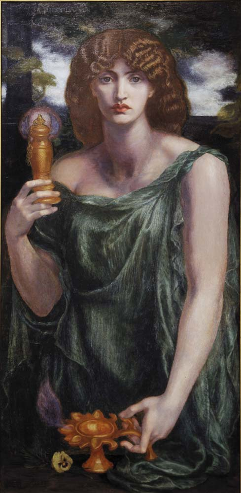 Mnemosyne, also titled Lamp of Memory and Ricordanza, 1881 by Dante Gabriel Rossetti, pre-Raphaelite artist, 12x8