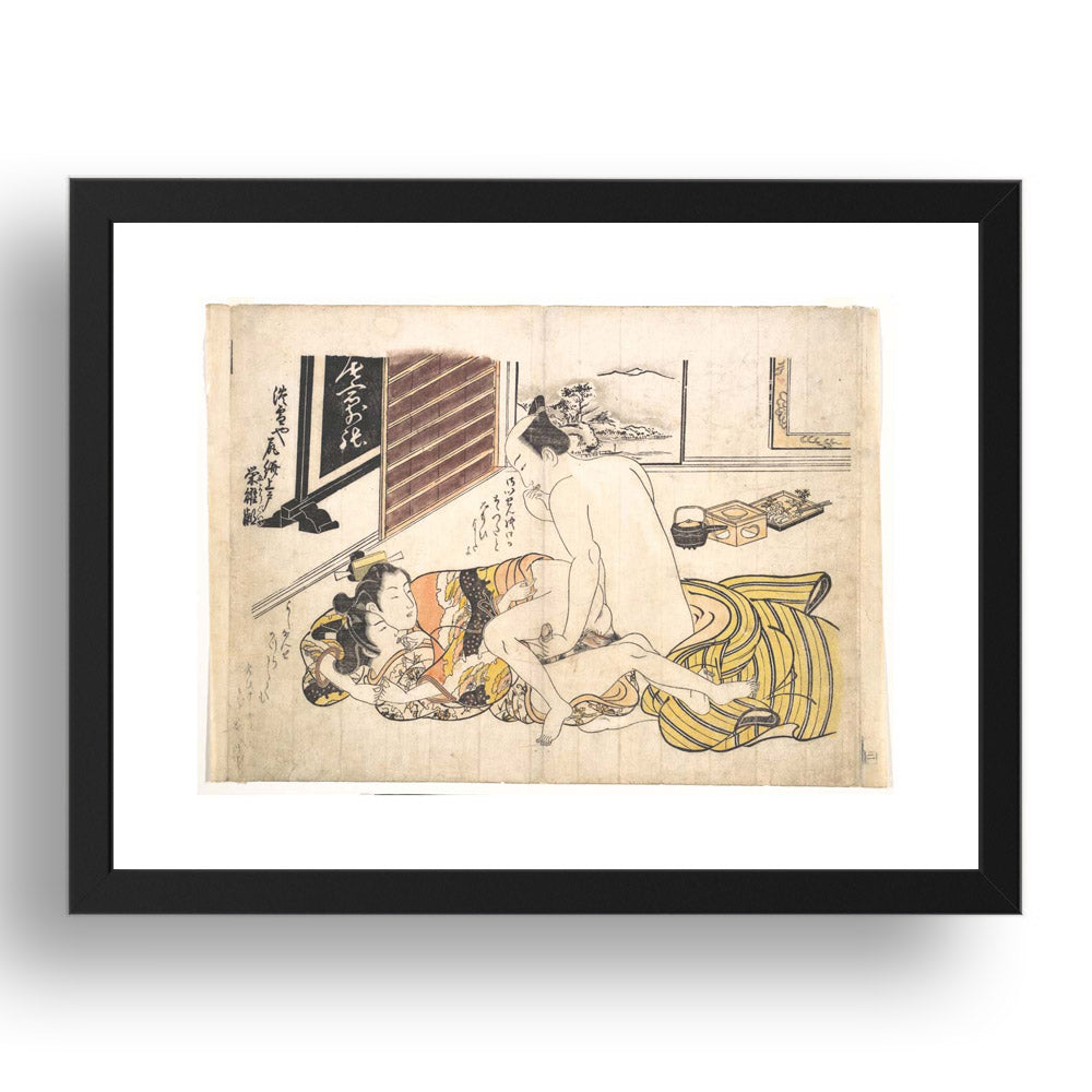 Okumura Masanobu Homo Erotic Menage A trois gay, ukiyo-e Japanese Shunga, classic artwork in 17x13
