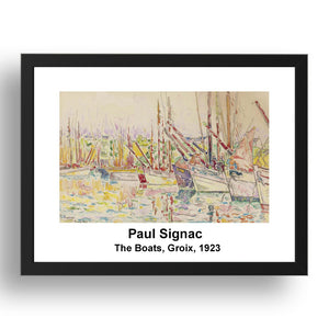 "Paul Signac: The Boats Groix 1923, vintage impressionist artwork, 17x13""(A3) Frame"