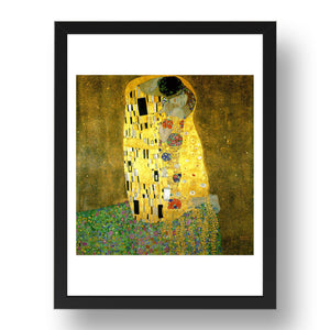 """THE KISS"", classic art by Gustav Klimt,  Framed Art Poster"