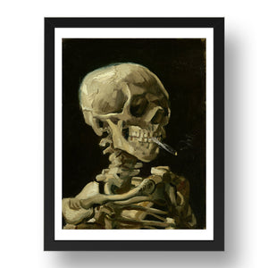 Willem van Gogh:  Skull Of A Skeleton With Burning Cigarette.  Framed Art Poster