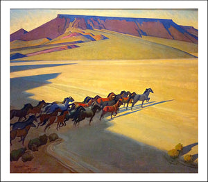 "Wild Horses of Nevada, 1927 by Maynard Dixon, Classic American Western Art, 16x12"" (A3) Poster Print"