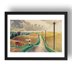 "Wiltshire landscape by Eric Ravilious, 17x13"" Frame"