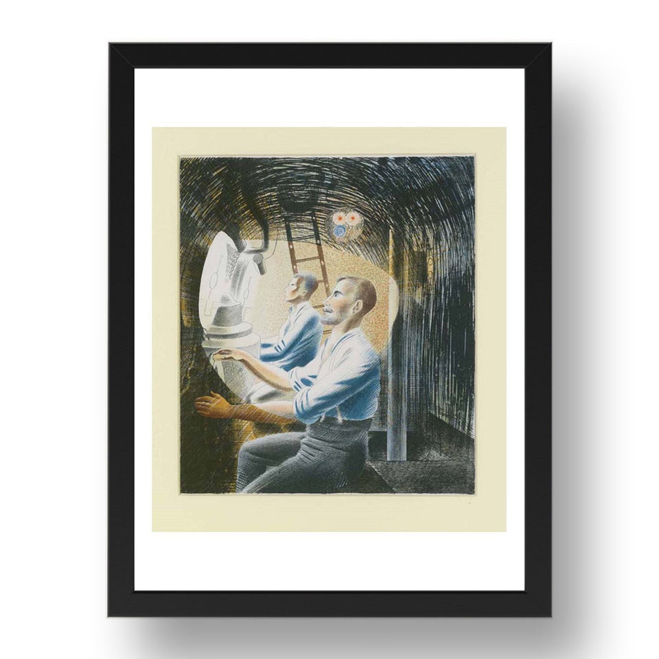"Working Controls While Submerged by Eric Ravilious, 17x13"" Frame"