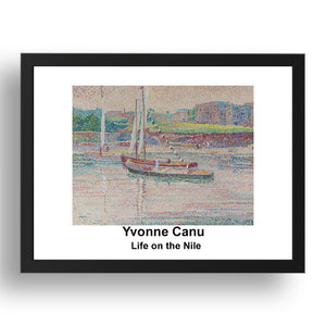 "Yvonne Canu: Life on the Nile, vintage impressionist artwork, 17x13""(A3) Frame"