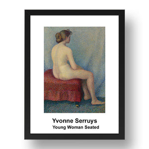 "Yvonne Serruys: Young Woman Seated, vintage impressionist artwork, 17x13""(A3) Frame"