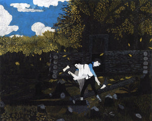 "Abraham Lincoln and His Father Building Their Cabin on Pigeon Creek, vintage artwork by Horace Pippin, 12x8"" (A4) Poster"