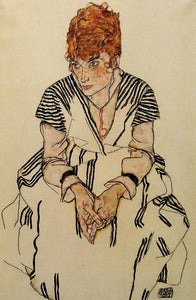 "The Artist's Sister-in-Law in a Striped Dress, Seated, vintage artwork by Egon Schiele, 12x8"" (A4) Poster"
