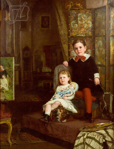 "Boy and Girl Posing for their Portrait by Alfred M. Turner,A3(16x12"")Poster"