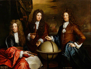 "Edward Russell, Earl of Orford, Captain John Benbow and Admiral Ralph Delavall, vintage artwork by Sir Godfrey Kneller, BT., 12x8"" (A4) Poster"
