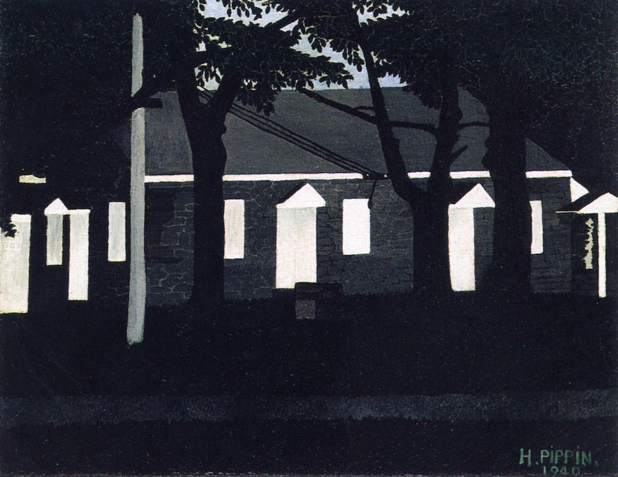 Birmingham Meeting House III, vintage artwork by Horace Pippin, 12x8
