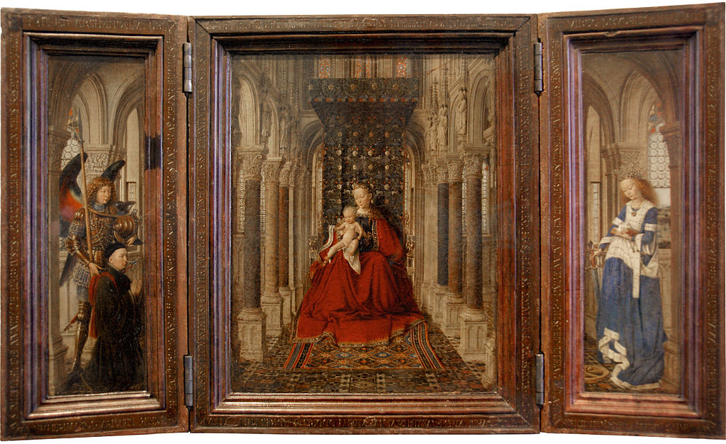 Virgin and Child with St Michael and St Catherine and a Donor, vintage artwork by Jan van Eyck, 12x8
