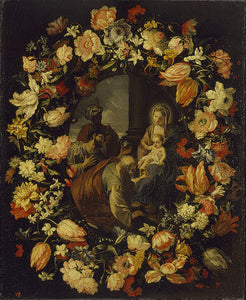 "'Adoration of the Magi' Framed by  a Garland of Flowers, vintage artwork by Carlo Maratta, 12x8"" (A4) Poster"